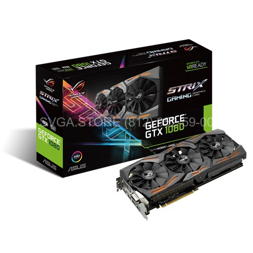 Видеокарта Asus  GTX1080 ROG STRIX 8Gb GAMING (256bit GDDR5X 1607/1771Mhz) [ROG STRIX-GTX1080-8G-GAMING]